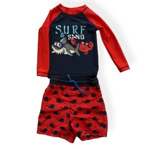Rash guard and swim shorts/swim trunks set